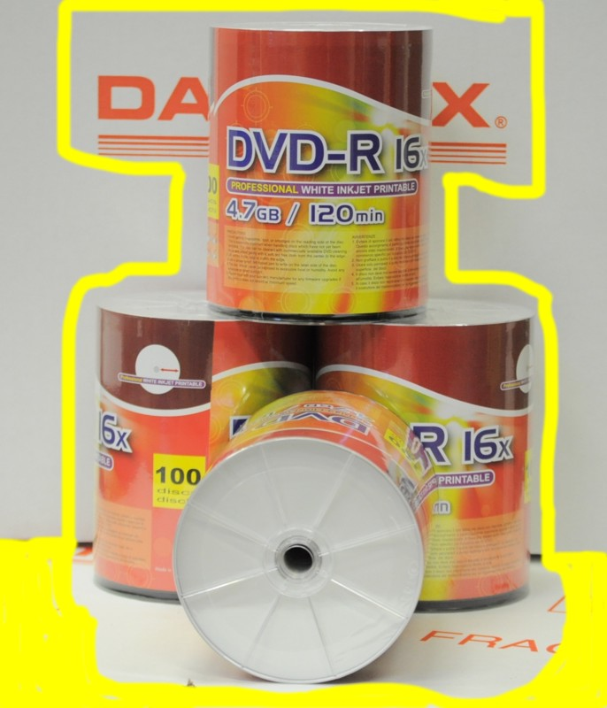 DVD -R Ink Jet printable in spindle DTX