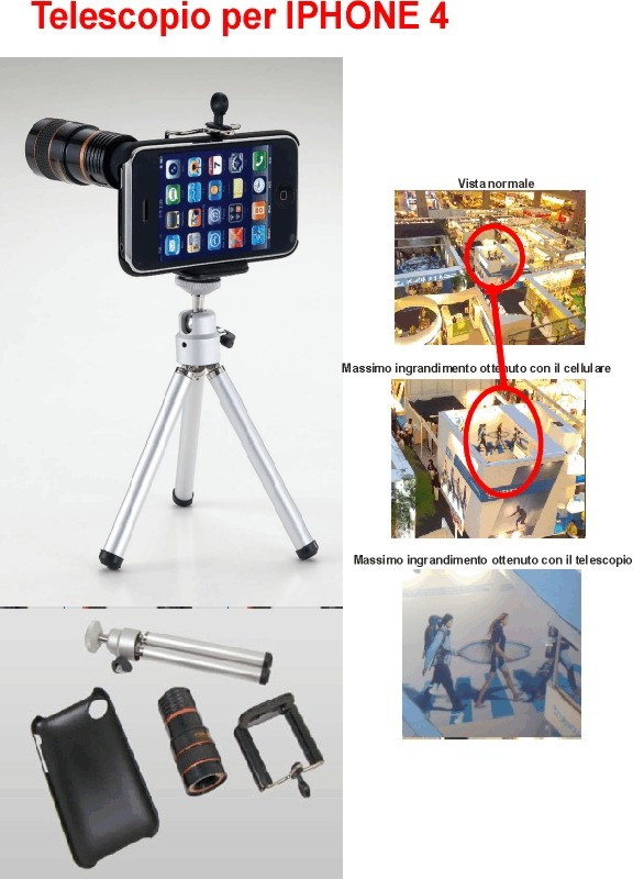Telescopio per  iPhone 4 e 4s con cavalletto